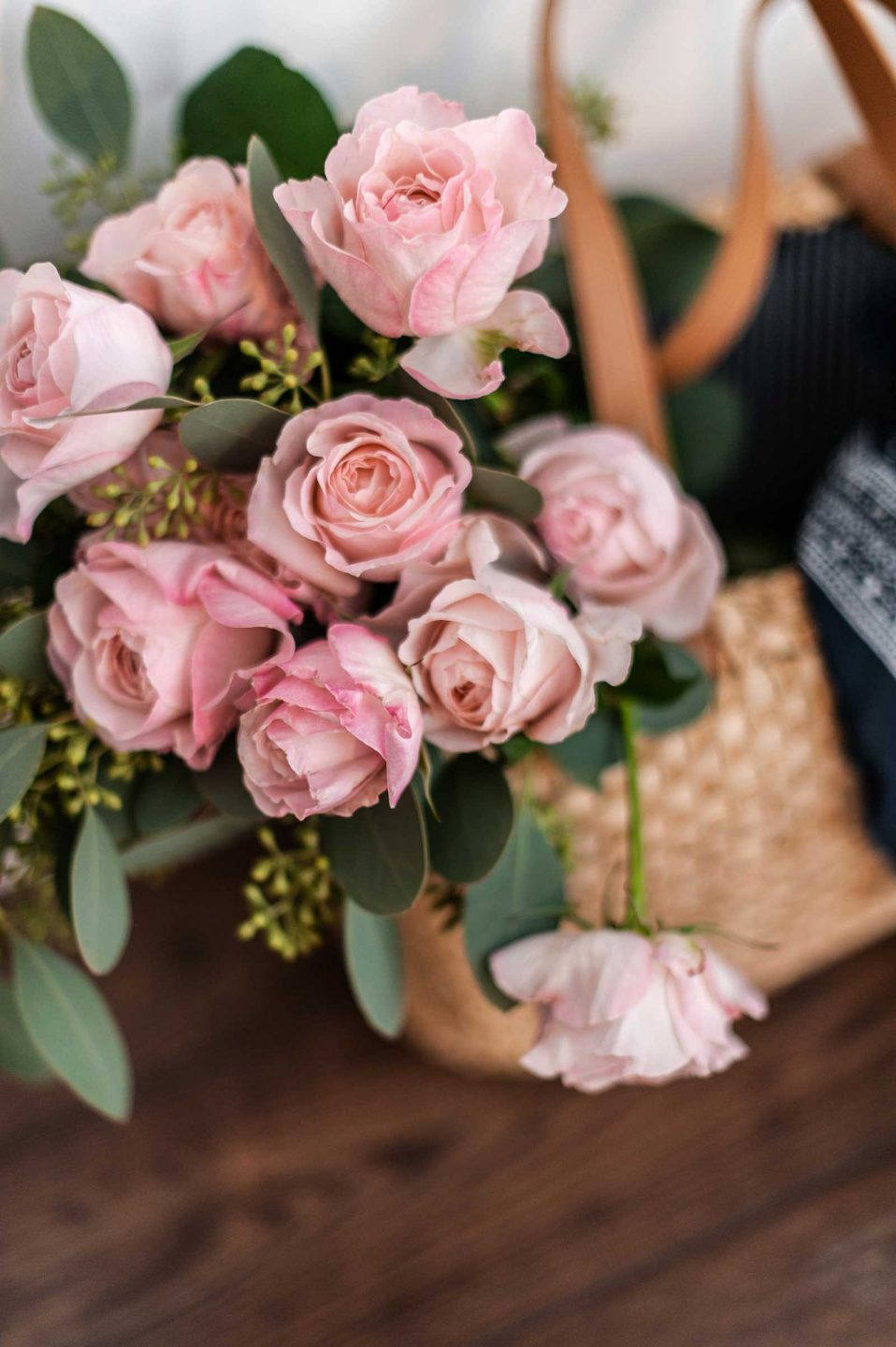 Bouquet of roses in a bag